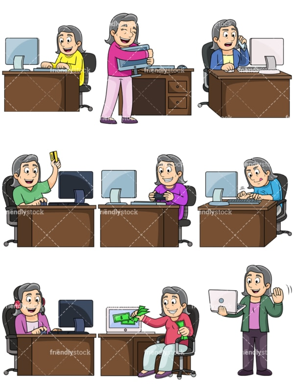 Old woman using computers. PNG - JPG and vector EPS file formats (infinitely scalable). Images isolated on transparent background.