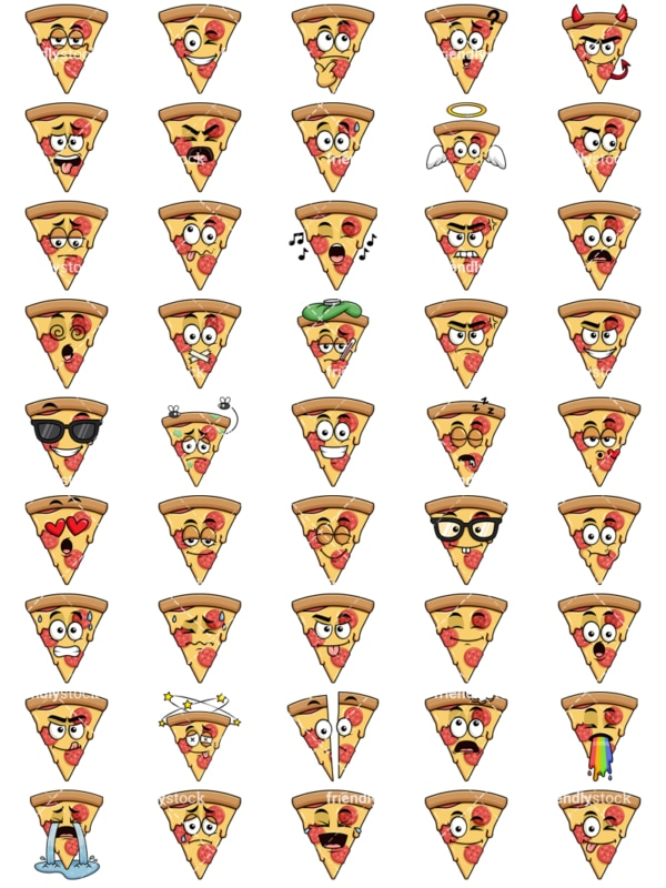 Pizza emoticons bundle. PNG - JPG and vector EPS file formats (infinitely scalable). Images isolated on transparent background.