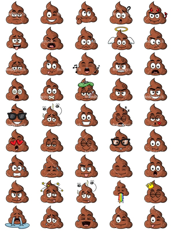 Poop emoticons bundle. PNG - JPG and vector EPS file formats (infinitely scalable). Images isolated on transparent background.
