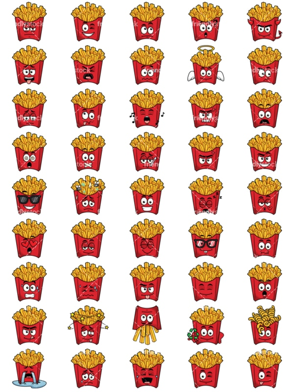Red pack of french fries emoticons bundle. PNG - JPG and vector EPS file formats (infinitely scalable). Images isolated on transparent background.