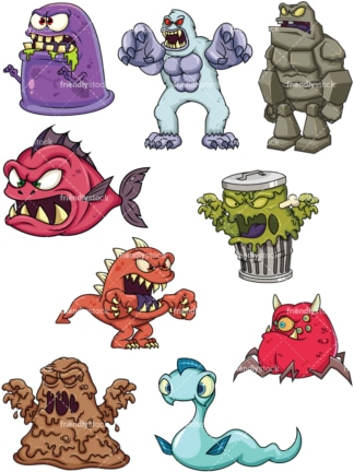 Scary monsters. PNG - JPG and vector EPS file formats (infinitely scalable). Image isolated on transparent background.