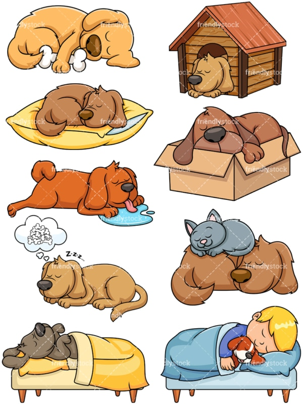 Sleeping dogs. PNG - JPG and vector EPS file formats (infinitely scalable). Image isolated on transparent background.