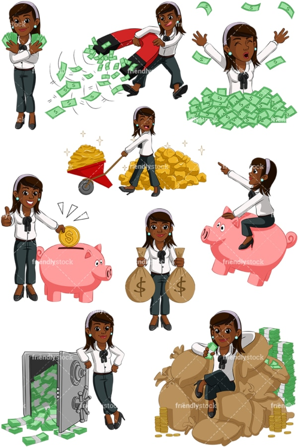 Wealthy black businesswoman. PNG - JPG and vector EPS (infinitely scalable). Images isolated on transparent background.