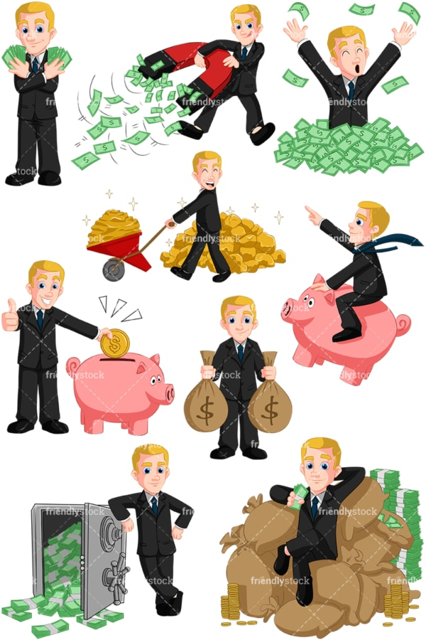 Wealthy businessman. PNG - JPG and vector EPS (infinitely scalable). Images isolated on transparent background.