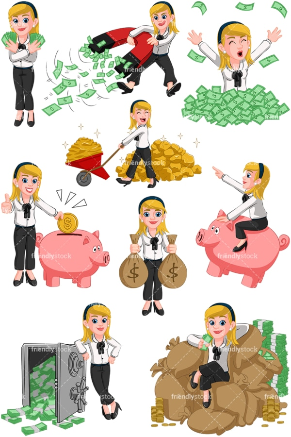 Wealthy businesswoman. PNG - JPG and vector EPS (infinitely scalable). Images isolated on transparent background.