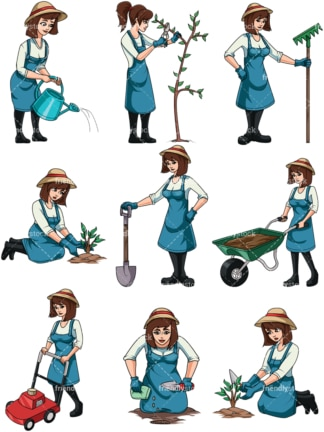 Woman gardening. PNG - JPG and vector EPS file formats (infinitely scalable). Image isolated on transparent background.