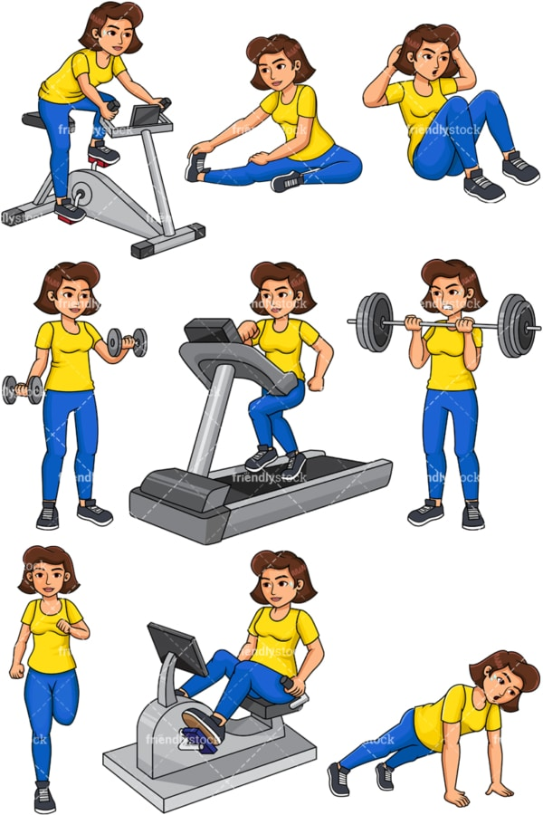 Woman working out. PNG - JPG and vector EPS file formats (infinitely scalable). Images isolated on transparent background.