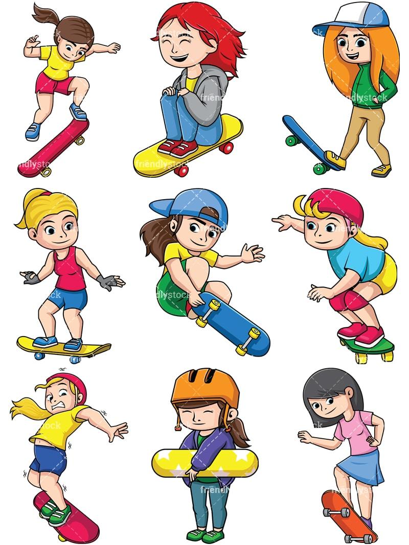 Women Skateboarding Cartoon Vector Clipart - FriendlyStock