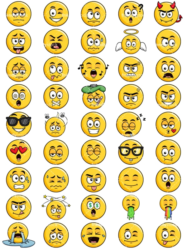Yellow smiley emoticons bundle. PNG - JPG and vector EPS file formats (infinitely scalable). Images isolated on transparent background.