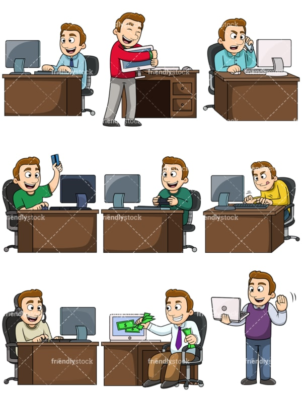 Young man using computers. PNG - JPG and vector EPS file formats (infinitely scalable). Images isolated on transparent background.