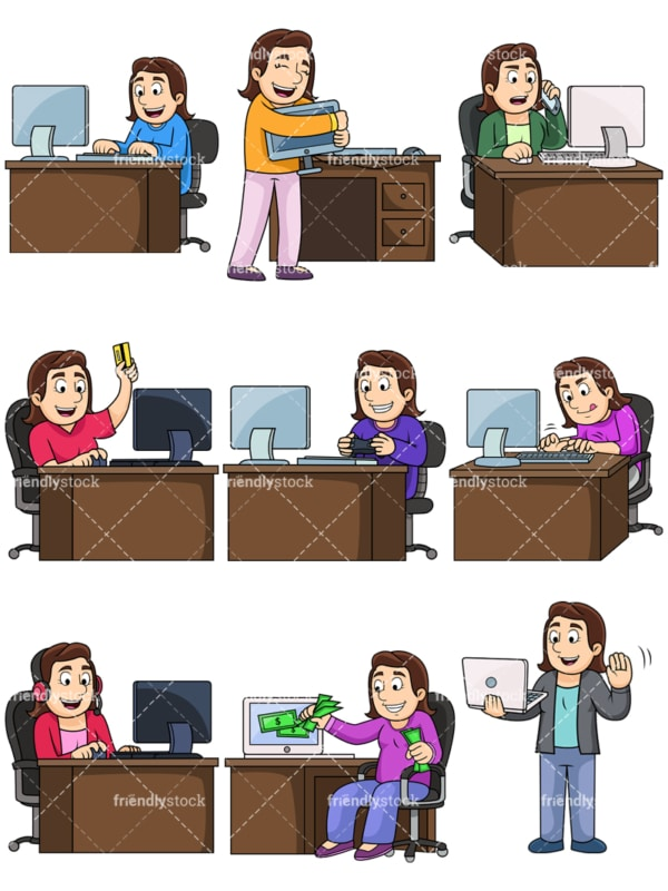Young woman using computers. PNG - JPG and vector EPS file formats (infinitely scalable). Images isolated on transparent background.