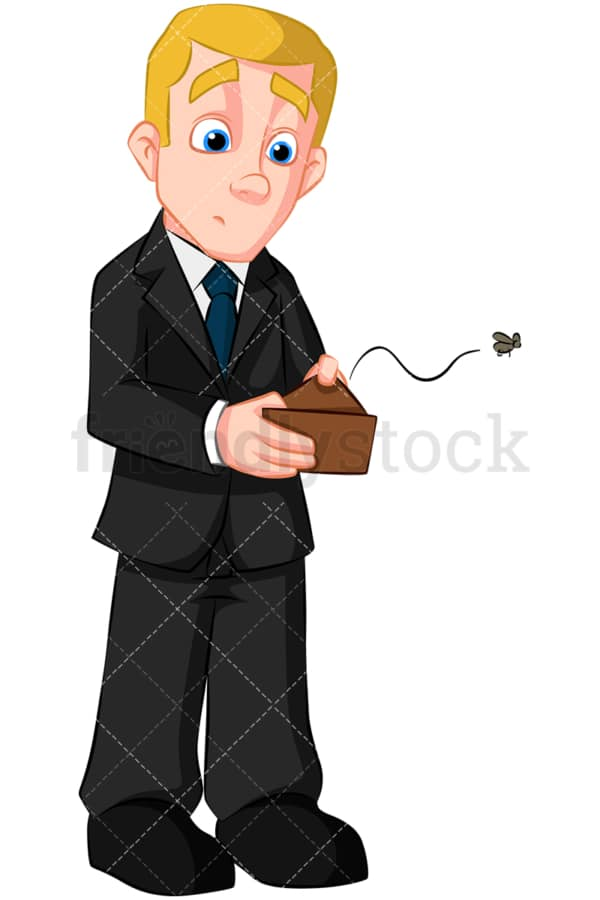 Bankrupt business man empty wallet. PNG - JPG and vector EPS (infinitely scalable). Image isolated on transparent background.