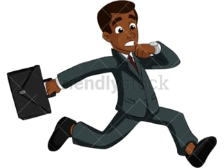 Black businessman running late. PNG - JPG and vector EPS (infinitely scalable). Image isolated on transparent background.