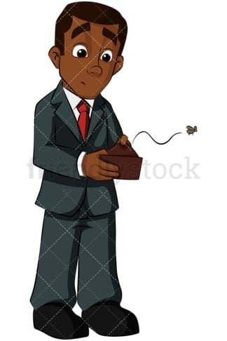 Black businessman with empty wallet. PNG - JPG and vector EPS (infinitely scalable). Image isolated on transparent background.