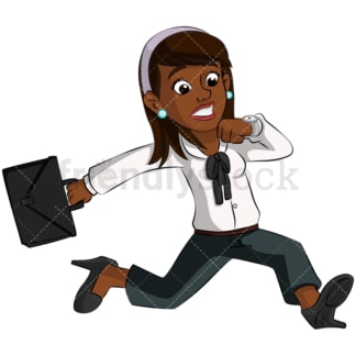 Black businesswoman looking at watch. PNG - JPG and vector EPS (infinitely scalable). Image isolated on transparent background.
