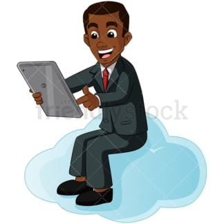 Black man cloud computing. PNG - JPG and vector EPS (infinitely scalable). Image isolated on transparent background.