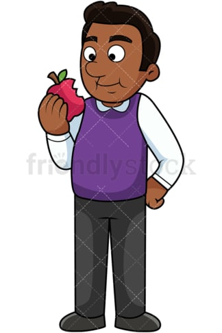 Black man enjoying apple. PNG - JPG and vector EPS. Image isolated on transparent background.
