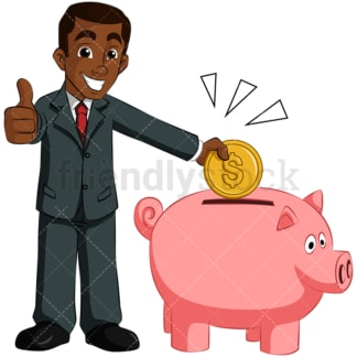 Black man saving money in piggy bank. PNG - JPG and vector EPS (infinitely scalable). Image isolated on transparent background.