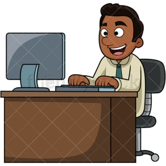 Black man using computer. PNG - JPG and vector EPS file formats (infinitely scalable). Image isolated on transparent background.