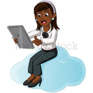 Black woman cloud computing. PNG - JPG and vector EPS (infinitely scalable). Image isolated on transparent background.