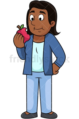 Black woman enjoying apple. PNG - JPG and vector EPS. Image isolated on transparent background.
