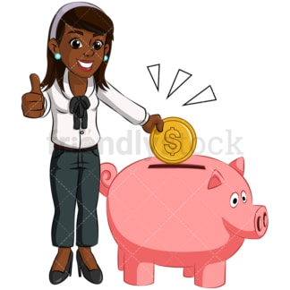 Black woman saving money in piggy bank. PNG - JPG and vector EPS (infinitely scalable). Image isolated on transparent background.