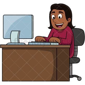 Black woman using computer. PNG - JPG and vector EPS file formats (infinitely scalable). Image isolated on transparent background.