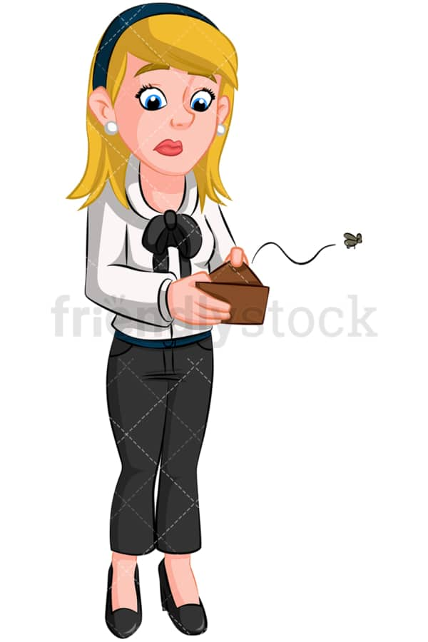 Broke businesswoman empty wallet. PNG - JPG and vector EPS (infinitely scalable). Image isolated on transparent background.