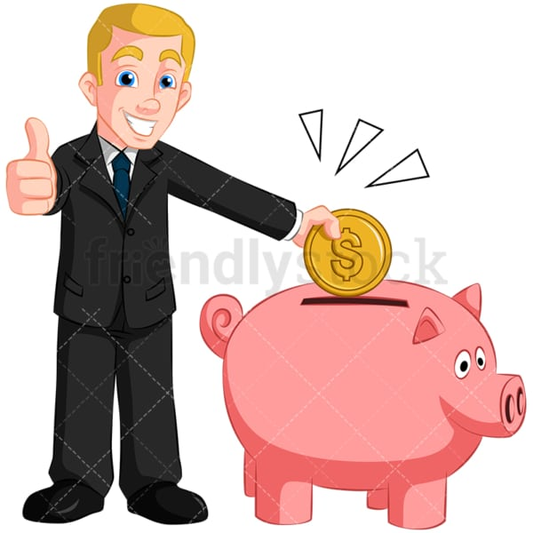 Businessman saving money in piggy bank. PNG - JPG and vector EPS (infinitely scalable). Image isolated on transparent background.