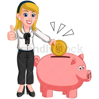 Businesswoman saving money in piggy bank. PNG - JPG and vector EPS (infinitely scalable). Image isolated on transparent background.
