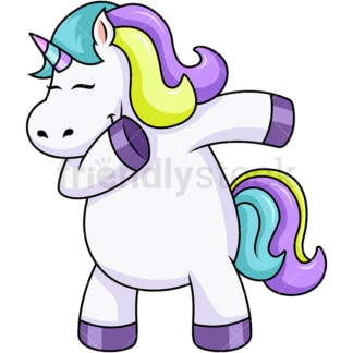 Chubby unicorn dabbing. PNG - JPG and vector EPS file formats (infinitely scalable). Image isolated on transparent background.