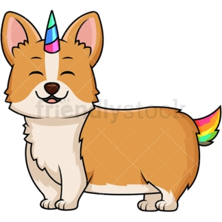 Corgi dog unicorn Corgicorn. PNG - JPG and vector EPS file formats (infinitely scalable). Image isolated on transparent background.