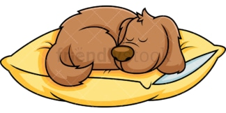 Dog cartoon sleeping on pillow. PNG - JPG and vector EPS file formats (infinitely scalable). Image isolated on transparent background.