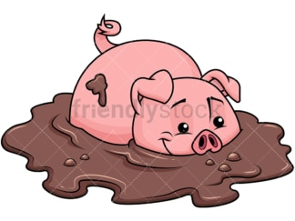 Farm pig in dirt. PNG - JPG and vector EPS file formats (infinitely scalable). Image isolated on transparent background.