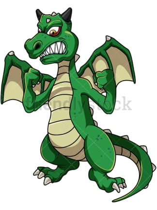 Green angry dragon. PNG - JPG and vector EPS file formats (infinitely scalable). Image isolated on transparent background.