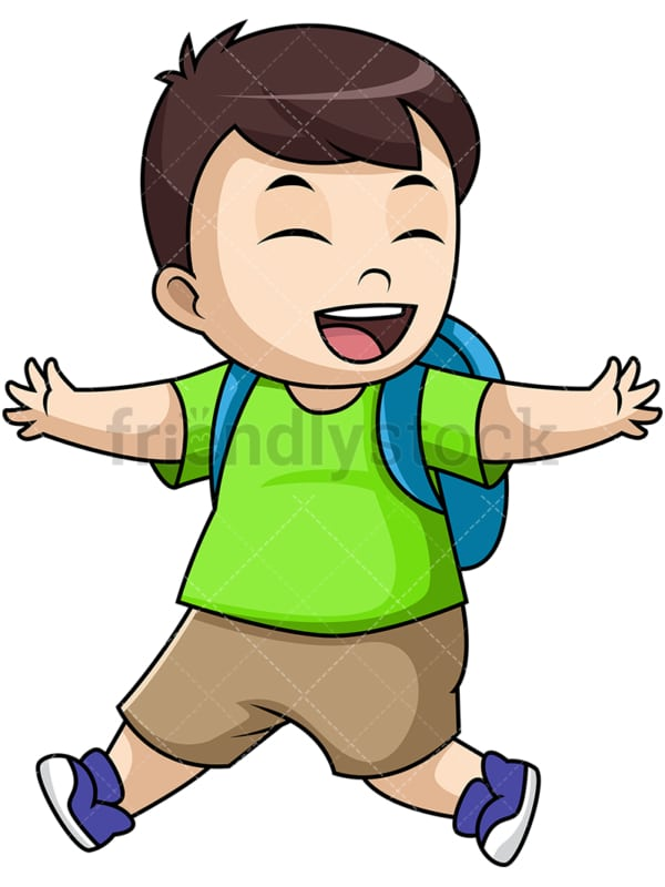 Happy boy school student. PNG - JPG and vector EPS file formats (infinitely scalable). Image isolated on transparent background.