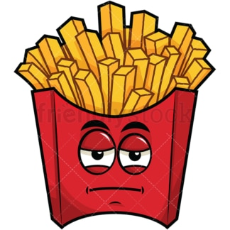 Heavy eyes french fries emoticon. PNG - JPG and vector EPS file formats (infinitely scalable). Image isolated on transparent background.