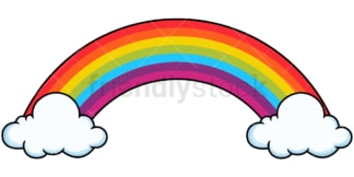 Long rainbow with cloud bases. PNG - JPG and vector EPS file formats (infinitely scalable). Image isolated on transparent background.
