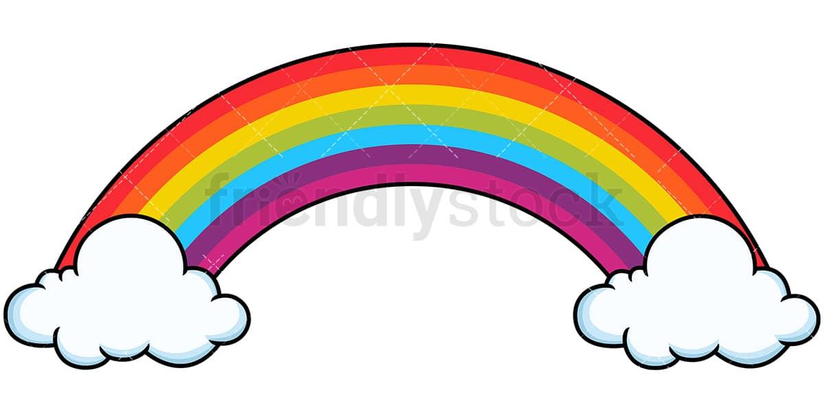 Long Rainbow With Cloud Bases Cartoon Vector Clipart ...