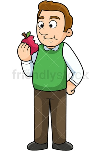 Man enjoying apple. PNG - JPG and vector EPS. Image isolated on transparent background.