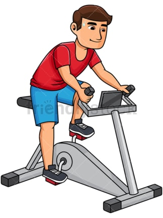 Man riding stationary bike. PNG - JPG and vector EPS file formats (infinitely scalable). Image isolated on transparent background.