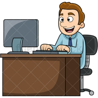 Man working on computer. PNG - JPG and vector EPS file formats (infinitely scalable). Image isolated on transparent background.