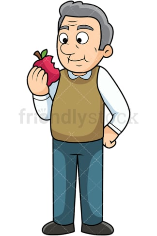 Old man enjoying apple. PNG - JPG and vector EPS. Image isolated on transparent background.