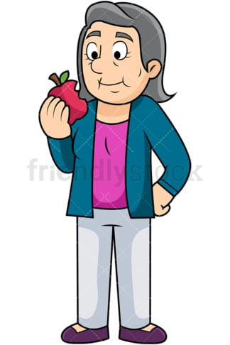 Old woman enjoying apple. PNG - JPG and vector EPS. Image isolated on transparent background.