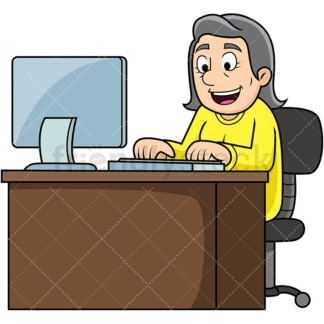 Old woman working on computer. PNG - JPG and vector EPS file formats (infinitely scalable). Image isolated on transparent background.