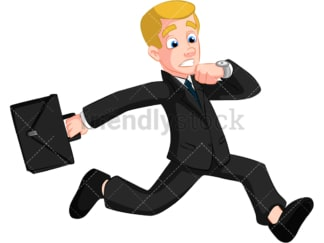 Rushed businessman running late. PNG - JPG and vector EPS (infinitely scalable). Image isolated on transparent background.