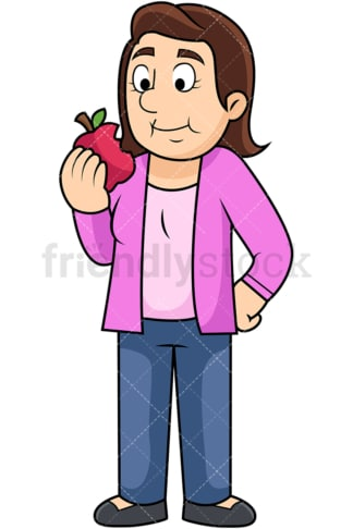 Woman enjoying apple. PNG - JPG and vector EPS. Image isolated on transparent background.