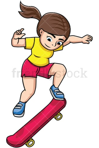 Woman jumping with skateboard. PNG - JPG and vector EPS file formats (infinitely scalable). Image isolated on transparent background.