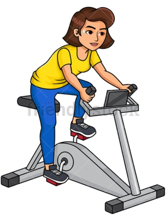 Woman on stationary bike. PNG - JPG and vector EPS file formats (infinitely scalable). Image isolated on transparent background.