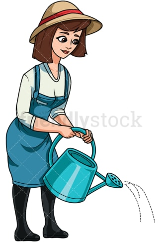 Woman using watering can. PNG - JPG and vector EPS file formats (infinitely scalable). Image isolated on transparent background.